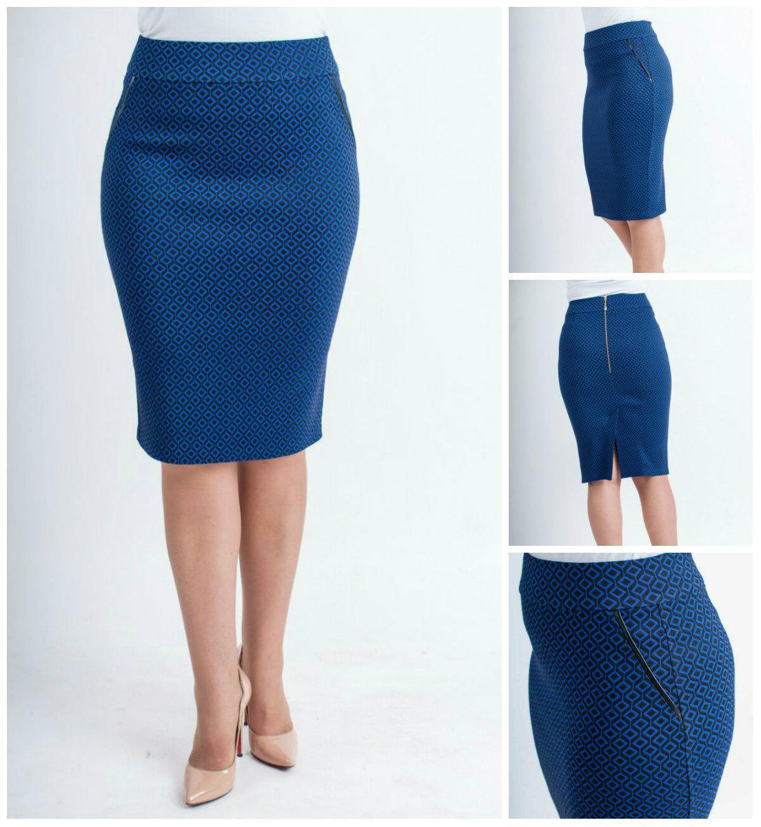 Женская стильная юбка прямая Илона, цвет синий, р 42-52