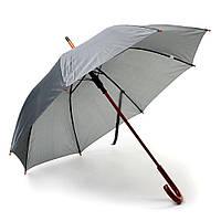 Зонт-трость, полуавтомат, ручка дерево, серый, от 10 шт