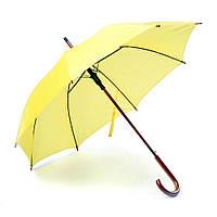 Зонт-трость, полуавтомат, ручка дерево, желтый, от 10 шт