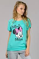 Женская трикотажная футболка Реглан Minni мята