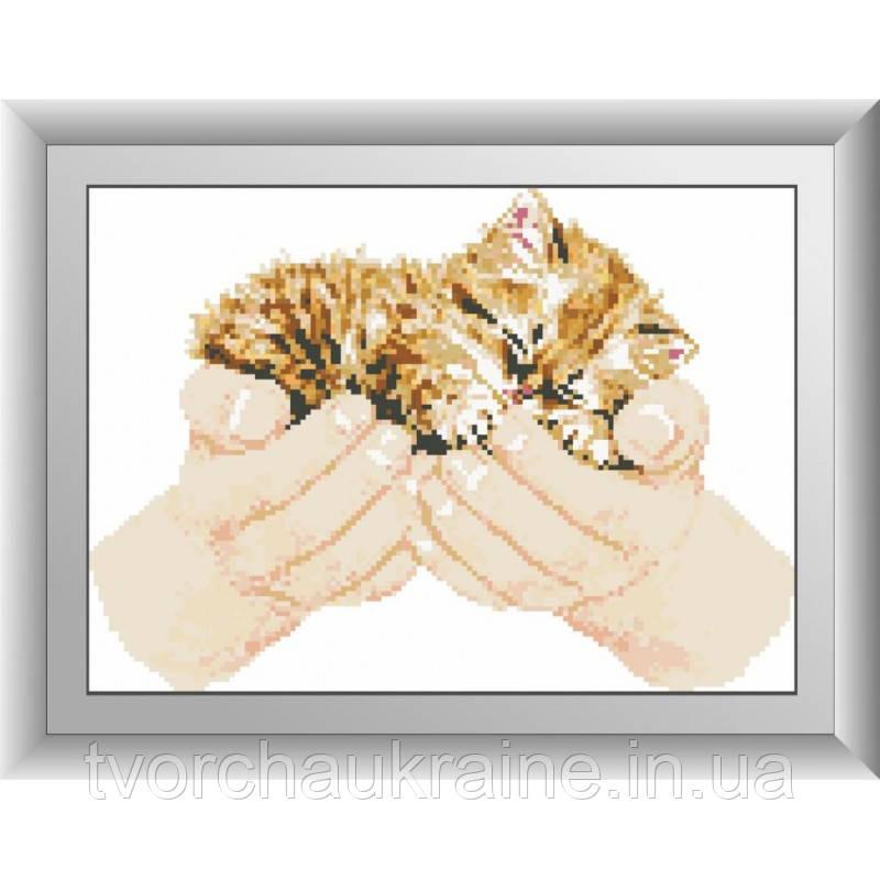 Котенок в руках. Набор алмазной живописи (квадратные, полная)
