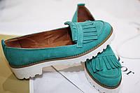 Стильные женские комфортные туфли- лоферы от TroisRois  из натурального турецкого замша 2.5, Без застешки, Натуральная кожа, Бирюзовый2