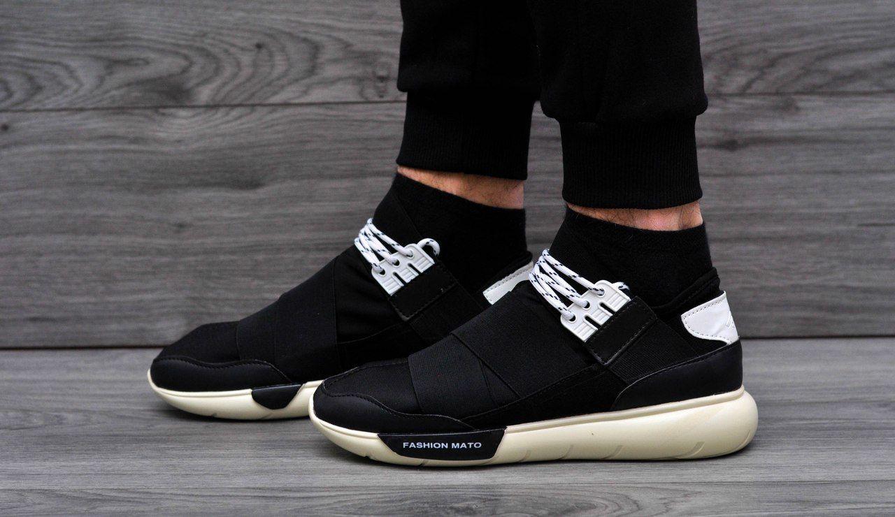 Модные кроссовки в стиле Adidas Fashion Mato Y-3 черно-бежевые