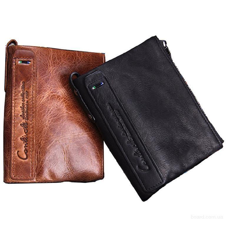 Мужской кошелек с натуральной кожи Crazy Horse 2 цвета в наличии