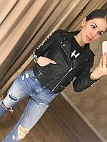 Женская модная черная куртка-косуха