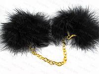 Наручники, наручники с перьями (мехом) на золотой цепочке