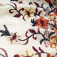 Ткань Лен вышивка купон (белый)