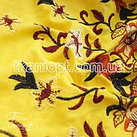 Ткань Лен вышивка купон (желтый)