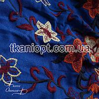 Ткань Лен вышивка купон (электро-синий)