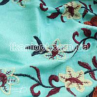 Ткань Лен вышивка купон (мята)