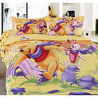 Постельное белье La Scala 160х205 сатин KI-049 Винни Пух и Пятачок, Разноцвет