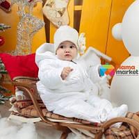 Штаны зимние для девочки  Mimino Baby Снежная принцесса, цвет белый размер 1 (6-12 мес)