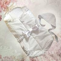 Конверт на выписку с шапочкой Mimino Сонный гномик, цвет белый
