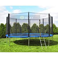 Батут спортивний для дітей Малатек діаметром 404см (13ft) з драбинкою і зовнішньою захисною сіткою