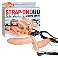 Страпон двухсторонний латексный с вибрацией On Duo Strap On