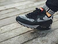 Кроссовки мужские Nike Air Max 90 Knit (Оригинал), кроссовки найк аир макс 90 серо-чёрные