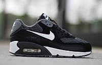 Кроссовки мужские Nike Air Max 90 GS Woven White Black Grey (Оригинал), кроссовки найк аир макс 90 серо-чёрные