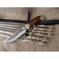 Подарочный Набор шампуров Охотничий трофей с ножом