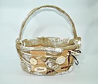Детская пасхальная корзинка винтаж мешковина овальная, круглая
