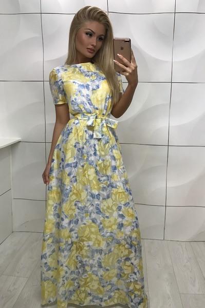 Платье красивое в пол желтое
