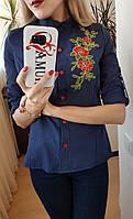 Женская котоновая рубашка,рукав делается коротким,цвет синий