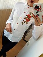 Женская котоновая рубашка,рукав делается коротким,цвет белый