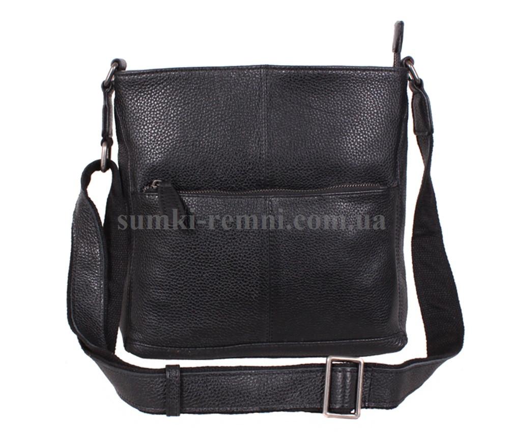 Мужская черная сумка из кожи флотар