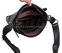 Мужская черная сумка из кожи флотар, фото 7