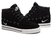 Кроссовки мужские Nike High Top Fur, зимние кроссовки найк топ фюр высокие чёрные, зимние найки