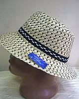 Летняя шляпа для мужчин  из натуральной  соломки цвет - белая с темно бежевым