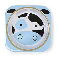 Детская глубокая меламиновая тарелочка Skip Hop Cow с коровкой