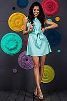 Летнее модное короткое  женское молодежное платье с поясом без рукавов 2017