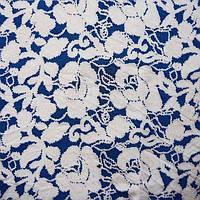 Ткань микромасло принтованное (цветное) - цветы на синем фоне