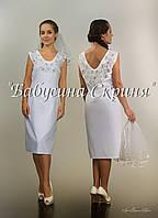 Заготовка жіночої сукні для вишивки нитками/бісером БС-55с бежево-сірий, домоткане полотно