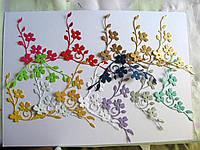 Вырубка из картона. Цветы, уголок, 79х81 мм