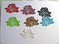 Вырубка из картона. Роза с листочками, 38х55 мм