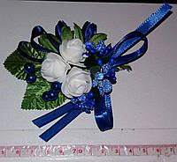 Свадебная синяя бутоньерка
