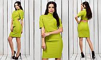 Красивое модное короткое  женское молодежное зеленое платье  с вырезом на спине 2017