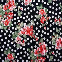 Ткань микромасло принтованное (цветное) - красные цветы