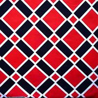 Ткань микромасло принтованное (цветное) - клетка красная