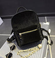 Женский бархатный рюкзак черного цвета