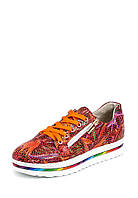 Туфли подростковые слипоны женские кожаные оранжевые цветы с кожаной подкладкой с супинатором.
