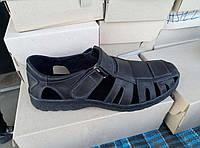 Кожаные черные мужские сандали большого размера 46-49.