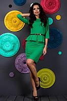 Красивое модное короткое женское зеленое молодежное платье с баской рукав три четверти 2017