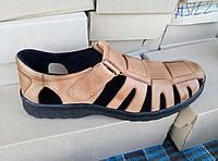 Кожаные коричневые мужские сандали большого размера 46-49.