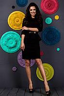 Красивое модное короткое черное женское молодежное платье с баской рукав три четверти 2017