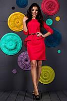 Красивое модное короткое красное женское молодежное платье с баской рукав три четверти 2017