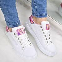Кроссовки женские McQueen белые с фиолетовым, спортивная обувь