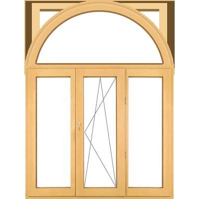 Арочные трехстворчатые деревянные окна