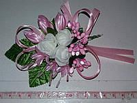 Свадебная розовая бутоньерка